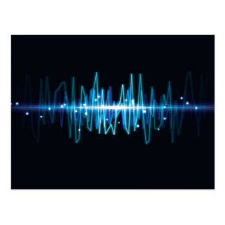Blurry abstract audio wave light effect postcard
