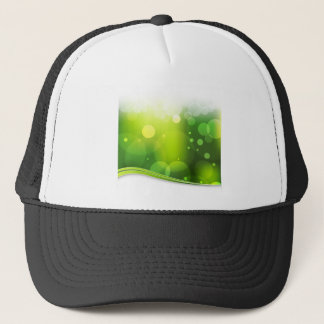 Blurry Bokeh Green Light Background Trucker Hat
