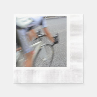 Blurry Cyclist Closeup Coined Cocktail Napkin