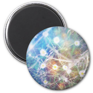 Blurry Daisies 2 Inch Round Magnet