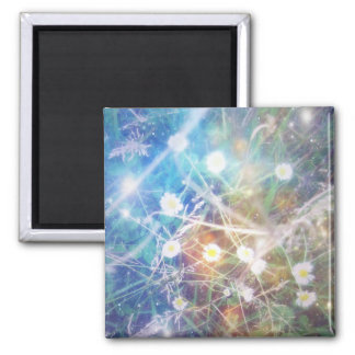 Blurry Daisies 2 Inch Square Magnet