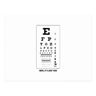 Blurry Eye Chart - Nope, It's Just You! Funny! Postcard