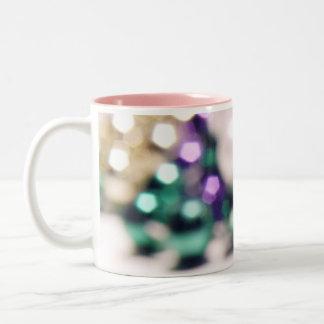 Blurry Mardi Gras Beads Two-Tone Coffee Mug