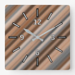 [ Thumbnail: Blurry Rustic Inspired Stripes Pattern Square Wall Clock ]