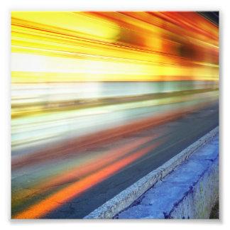 Blurry Train Lights at Night Photograph