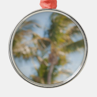 Blurry tree with blue sky metal ornament