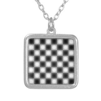 Blurry Two Tone Check Silver Plated Necklace