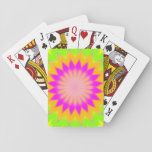 [ Thumbnail: Blurry Vibrant Bursting Flower-Like Pattern Playing Cards ]