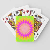 Blurry Vibrant Bursting Flower-Like Pattern Playing Cards