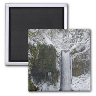 Blurry Waterfall Surrounded by a Snowy Forest 2 Inch Square Magnet