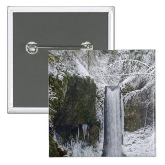 Blurry Waterfall Surrounded by a Snowy Forest 2 Inch Square Button