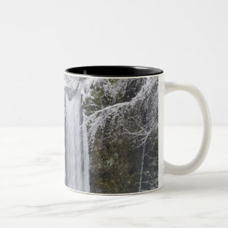 Blurry Waterfall Surrounded by a Snowy Forest Two-Tone Coffee Mug