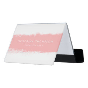Blush Abstract Watercolor Splash Desk Business Card Holder