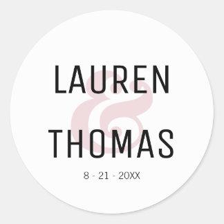 Blush and Black Ampersand Wedding Sticker