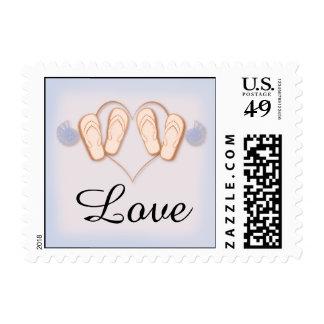 Blush and Blue Flip Flops Beach Wedding Stamp