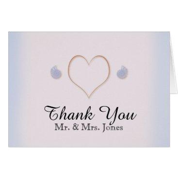 Beach Themed Blush and Blue Flip Flops Beach Wedding Thank You Card