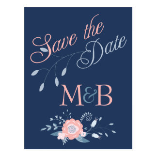 Blush and Blue wedding Save The Date postcards