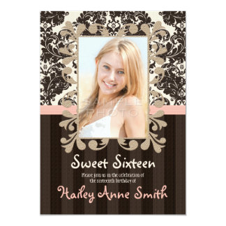Blush and Brown Vintage Lace Damask Sweet Sixteen 5x7 Paper Invitation Card