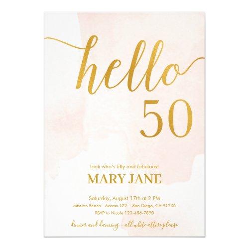 blush and gold 50th birthday invitation