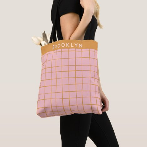 Blush and Gold Abstract Grid Lines Personalized Tote Bag