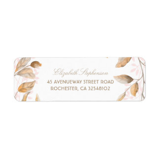Blush and Gold Branches Vintage Wedding Label