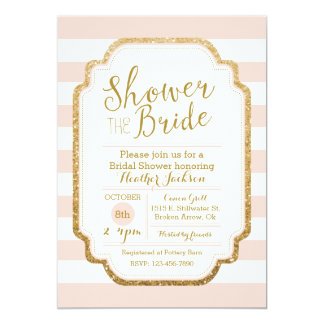 blush and gold bridal shower invitation