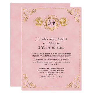 Blush and Gold Cotton 2nd Wedding Anniversary Card