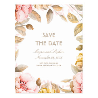 Blush and Gold Floral Watercolors Save the Date Postcard