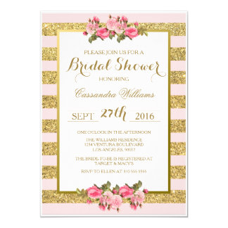 Blush and Gold Glitter - Bridal Shower Invitation