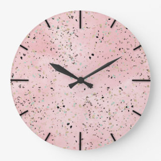 Blush and gold marble terrazzo design large clock