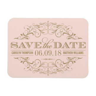 Blush and Gold Save the Date | Swirl and Flourish Magnet