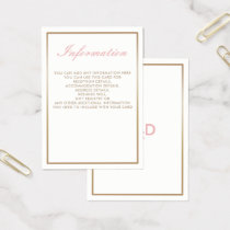 Blush and Gold Simple Wedding Information Cards