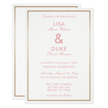Blush and Gold Simple Wedding Invitations