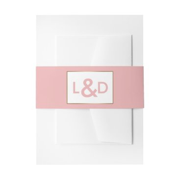 Blush and Gold Simple Wedding invitations Invitation Belly Band