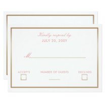 Blush and Gold Simple Wedding Invitations rsvp