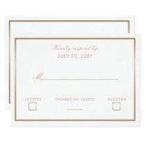 Blush and Gold Simple Wedding Invitations rsvp