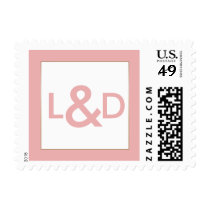Blush and Gold Simple Wedding Monogram Postage