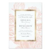 blush and gold vintage botanical floral wedding invitation