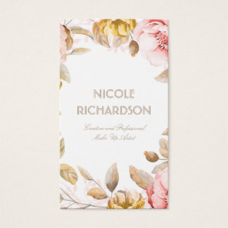 Blush and Gold Watercolor Flowers Bouquet Elegant Business Card