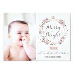 Blush and Gray Christmas Wreath Holiday Photo Card Custom Invitations
