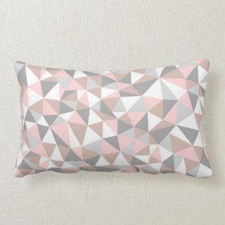 Blush And Gray Geometric Pattern Pillow at Zazzle