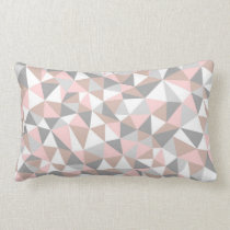 BLUSH AND GRAY GEOMETRIC PATTERN PILLOW