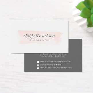 Blush and Gray Logo Business Card