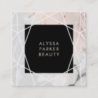 Blush and Gray Marble | Geometric Square Business Card