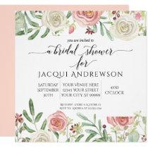 Blush and Ivory Rose Floral Bridal Shower | Square Invitation