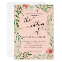 Blush and Ivory Roses Floral Wedding Foliage Leaf Invitation