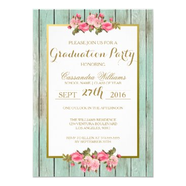 USA Themed Blush and Mint Graduation Party Floral Invitation