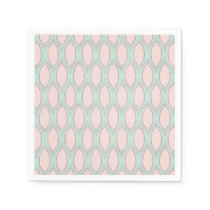 Blush and Mint Modern Geometric Pattern Paper Napkin