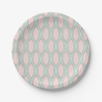 Blush and Mint Modern Geometric Pattern Paper Plate