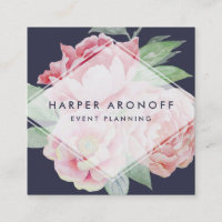 Blush and Navy Antique Peony Geometric Square Business Card
